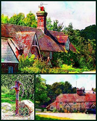 Charming Cottage Digital Art - Falmer Collage by Dorothy Berry-Lound