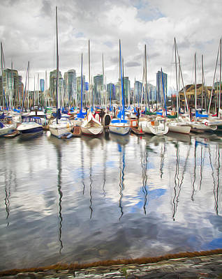 Photograph - False Creek Sailboats by Theresa Tahara