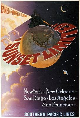 Photograph - Famed The World Round - Southern Pacific Lines - Retro Travel Poster - Vintage Poster by Studio Grafiikka