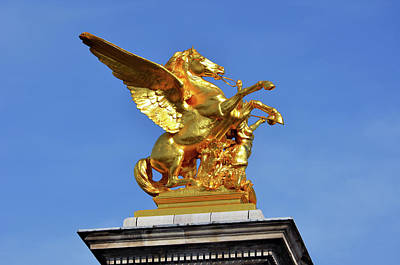 Photograph - Fames And Pegasus Atop Pont Alexandre IIi Bridge Column In Paris France by Shawn O'Brien