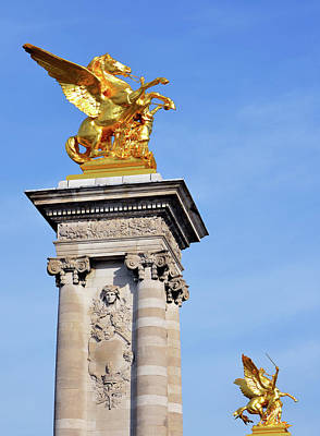 Photograph - Fames And Pegasus Atop Pont Alexandre IIi Bridge Columns In Paris France by Shawn O'Brien