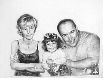 Racei Drawing - Family. 2001 by Yuri Yudaev