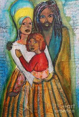 Folkart Mixed Media - Family by Amanda Trought