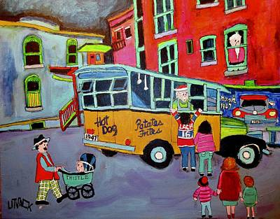 Montreal Chips Painting - Family At The Chip Wagon 1947 by Michael Litvack