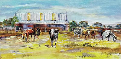 Wall Art - Painting - Family Barn And Horses Landscape by Kim Guthrie
