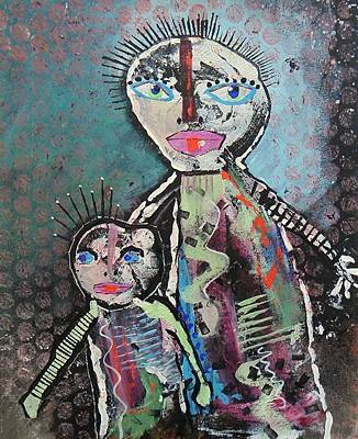 Primitive Raw Art Painting - Family by Bea Roberts