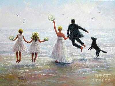Family Beach Wedding Wall Art - Painting - Family Beach Wedding by Vickie Wade