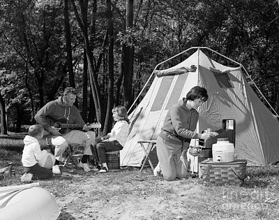 Four Sisters Photograph - Family Camping, C.1970s by H. Armstrong Roberts/ClassicStock