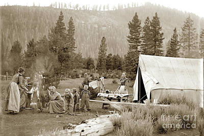 Photograph - Family Camping With Tent In The Mountains Circa 1905 by California Views Mr Pat Hathaway Archives