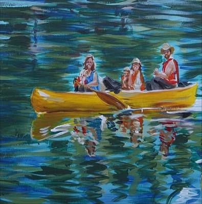 Painting - Family Canoe Trip From Spring 1 by Jan Swaren