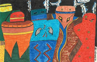 Colorful Abstract Drawing - Family by Carolyn L Schaefer