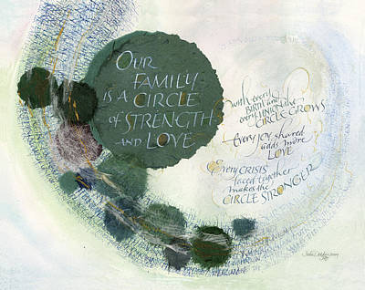 Green Mixed Media - Family Circle by Judy Dodds