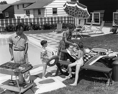 Family Cookout, C.1960s Art Print by H. Armstrong Roberts/ClassicStock