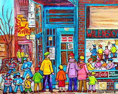 Family Day At Wilensky Lunch Counter Montreal Street Hockey Winter Scene Carole Spandau Print by Carole Spandau