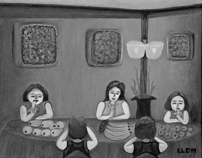 Painting - Family Dinner Bw by Lorna Maza