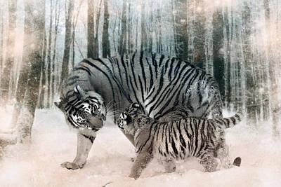 Tiger Digital Art - Family Footsteps by Julie L Hoddinott