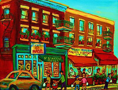 Montreal Storefronts Painting - Family Frolic On St.viateur Street by Carole Spandau