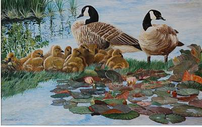 Canadian Geese Painting - Family Gathering by Santo De Vita