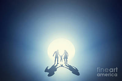 Lights In Tunnel Photograph - Family Going Towards Light Out Of Deep Tunnel by Michal Bednarek