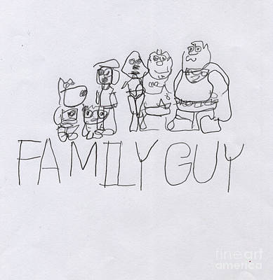 Family Guy Pencil Sketch Art Print by Vincent Gitto