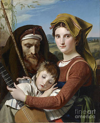 Old Man Painting - Family In The Campagna Francois by MotionAge Designs