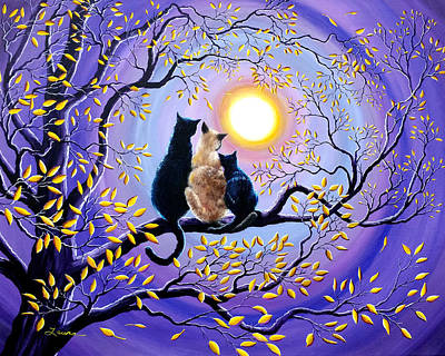 Surreal Painting - Family Moon Gazing Night by Laura Iverson