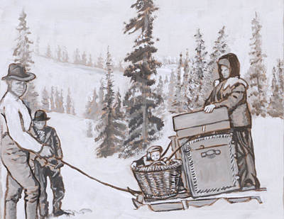 Painting - Family Moving With Sled Historical Vignette by Dawn Senior-Trask
