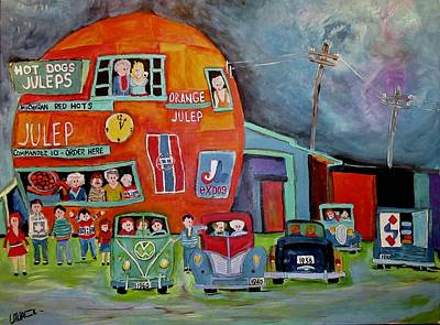 Painting - Vintage Family Night At The Orange Julep by Michael Litvack