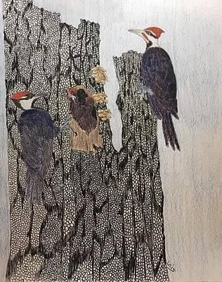 Woodpecker Mixed Media - Family Night by Lois Davis