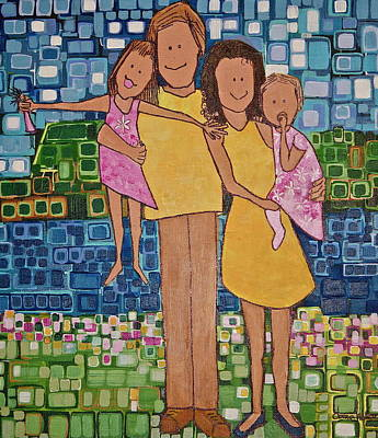 Print featuring the painting Family Of 4 by Donna Howard