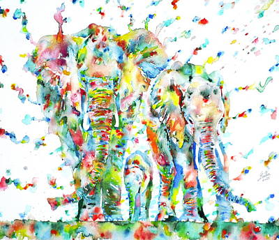 Painting - Family Of Elephants by Fabrizio Cassetta