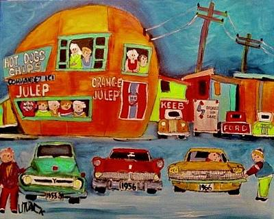 Painting - Family Of Fords At The Orange Julep Montreal by Michael Litvack