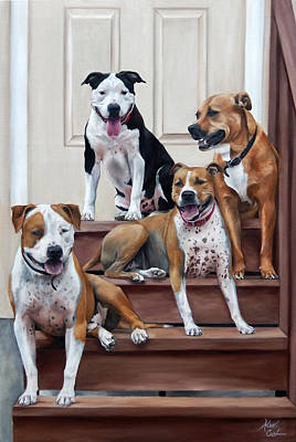 Staffie Painting - Family Of Four by Alexandra Cech