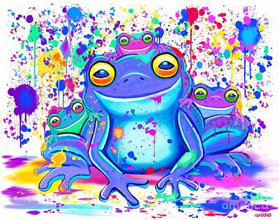 Digital Art - Family Of Painted Frogs by Nick Gustafson