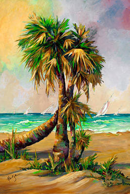 Family Of Palm Trees With Sail Boats Art Print by Mary DuCharme