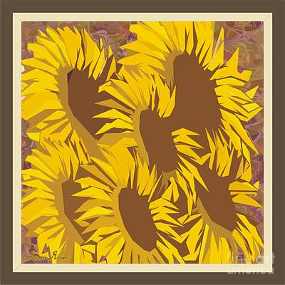 Digital Sunflower Mixed Media - Family Of Sunflowers by Michael Mirijan