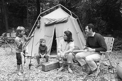 Four Sisters Photograph - Family On Camping Trip, C.1970s by H. Armstrong Roberts/ClassicStock