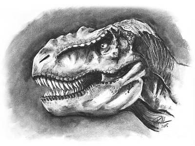 T Rex Drawing - Family Pet? by Paul Wilson