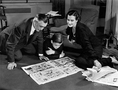 Funnies Photograph - Family Reading Sunday Comics, C.1930-40s by H. Armstrong Roberts/ClassicStock