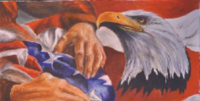 Family Receives Flag Art Print