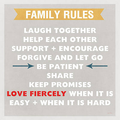 Cartoons Tees - Family Rules by Linda Woods