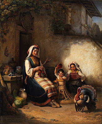 Painting - Family Scene From Istria by Kaspar Kaltenmoser