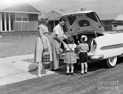 Family Setting Out For A Picnic, C.1950s Art Print by H. Armstrong Roberts/ClassicStock