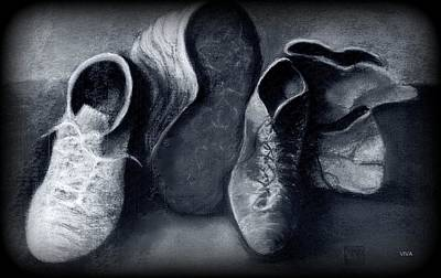 Drawing - Family Shoes B-w by VIVA Anderson
