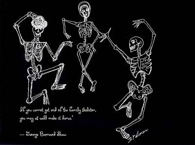 Drawing - Family Skeleton by Denise Fulmer