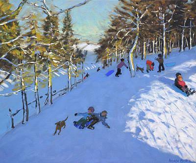 Downhill Skiing Painting - Family Sledging, Youlgreave, Derbyshire by Andrew Macara