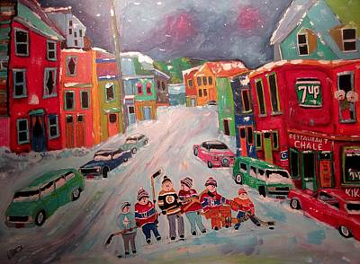 Litvack Painting - Family Street Hockey by Michael Litvack