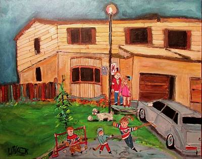 Painting - Family Street Hockey Pointe Claire 1984 by Michael Litvack