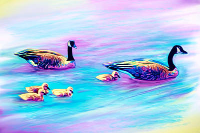 Canadian Geese Mixed Media - Family Swim by Paul DeBetta