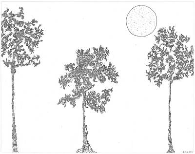 Nature Abstract Drawing - Family Trees by Bobby Hermesch